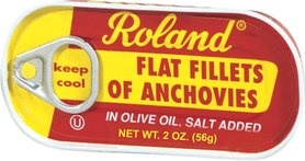 Picture of Roland Flat Fillets of Anchovies in Olive Oil, Salt Added 2 oz&nbsp;- Item No.&nbsp;13508