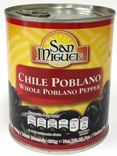 Picture of Chile Poblano Entero / Whole Poblano Peppers 30.9 oz by San Miguel&nbsp;- Item No.&nbsp;15120