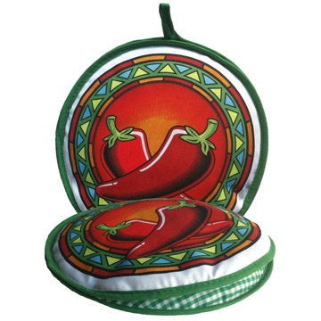 "Picture of Red Chili Pepper Fabric Tortilla Oven Warmer - 10"" by La Tortilla Oven - Item No. 1615"