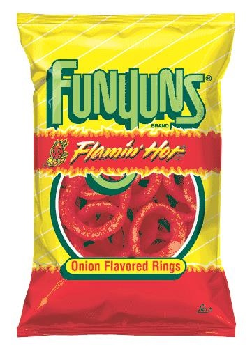 Picture of FUNYUNS FLAMIN' HOT Onion Flavored Rings 6.5 oz&nbsp;- Item No.&nbsp;28400-08296