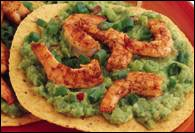Picture of Guacamole Shrimp Tostadas Mexican Recipe - Item No. 340-guacamoleshrimp-tostadas