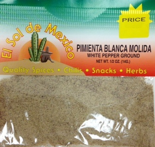 Picture of White Pepper Ground By El Sol de Mexico 1/2 oz&nbsp;- Item No.&nbsp;3660