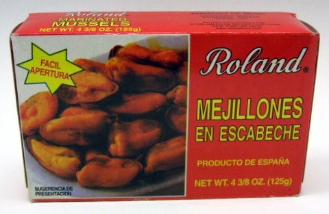 Picture of Mussels - Roland Marinated Mussels - Mejillones en Escabeche 4 3/8 oz&nbsp;- Item No.&nbsp;41224-24312