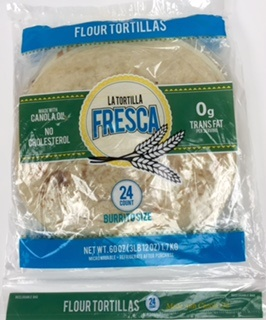 "Picture of Burrito Size Flour Tortillas by Porkyland - 10"" - Two Dozen in Pack - Item No. 44946-50680"