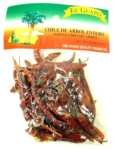 Picture of Dried Chile de Arbol Chili Pods 0.5 oz - Item No. 44989-33041