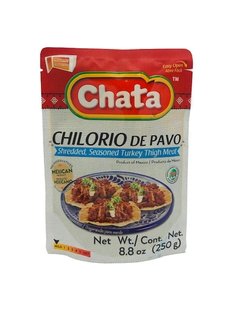 Picture of Seasoned Shredded Turkey Chilorio in Pouch by Chata 8.8 oz&nbsp;- Item No.&nbsp;501023-535034