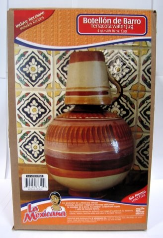 Picture of Botellon con vaso - barro sin plomo / Terracota Water Jug - Lead Free - Item No. 50409-87311