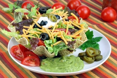 Picture of Taco Salad: Beef, Chicken, Turkey or Vegetarian Mexican Recipe - Item No. 526-taco-salad-beef-chicken-turkey-or-vegetarian