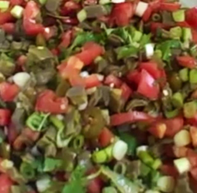 Picture of Nopales - Nopalitos Salad - Ensalada de Nopales Mexican Recipe- Item No.569-tender-nopalitos-salad