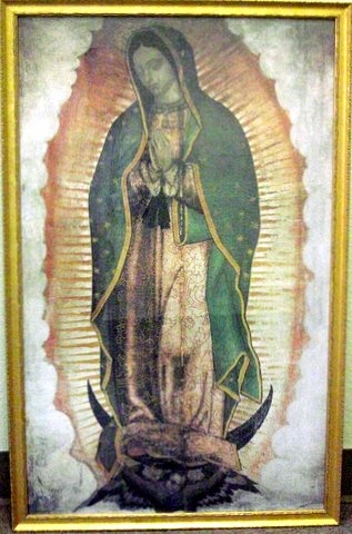 "Picture of Our Lady of Guadalupe Picture - Golden  Wood Frame - Size 36"" x 21"" - Item No. 61003-f"