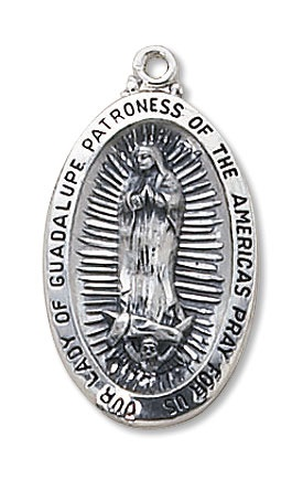 "Picture of Our Lady of Guadalupe Medal with 24"" chain - Item No. 61035"