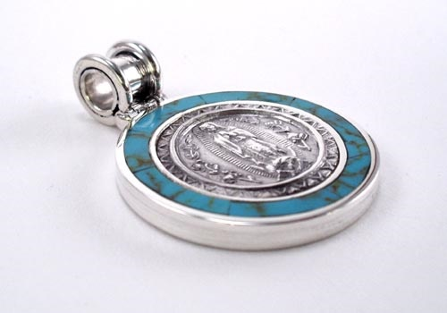Picture of Our Lady of Guadalupe Silver Medal with Color Stone - 1 1/8 in Diameter&nbsp;- Item No.&nbsp;61051
