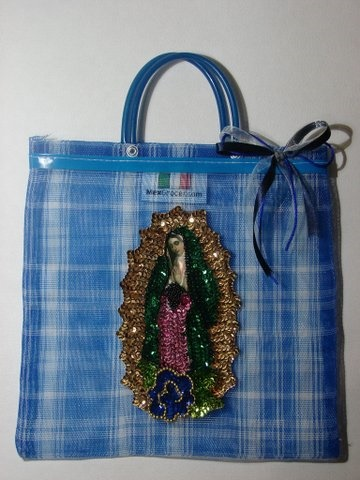 "Picture of Our Lady of Guadalupe Handbag with Small Handle 10.5"" x 10.5 - Blue - Item No. 61201"