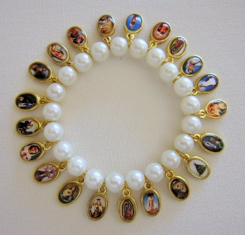 Picture of Religious Bracelet - Virgin Mary & Saints Bracelet with 21 religious medals&nbsp;- Item No.&nbsp;62002