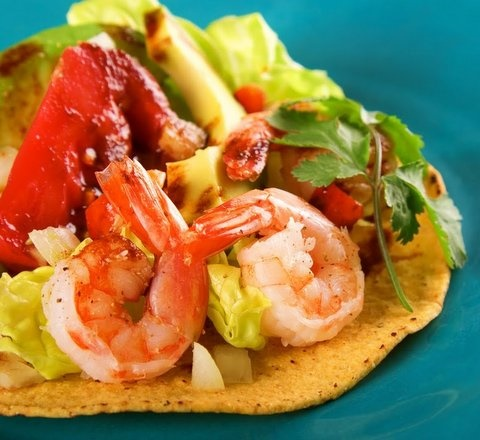 Picture of Shrimp Tostadas Mexican Recipe - Item No. 624-shrimp-tostadas