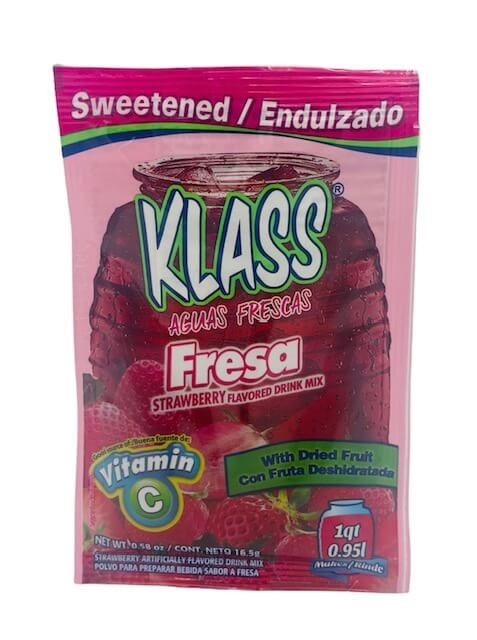 Picture of Strawberry Drink Mix - KLASS Aguas Frescas de Fresa  .26 oz - 3 units&nbsp;- Item No.&nbsp;6487