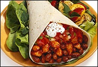 Picture of BBQ Chicken & Baked Bean Burritos - Item No. 68-bbq-chicken-baked-beans
