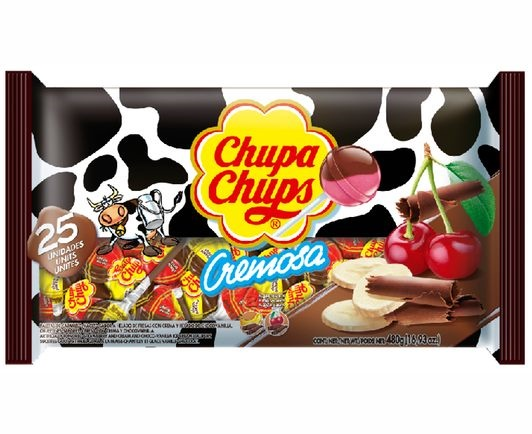Picture of Chupa Chups Cremosa Chocoolate Banana & Choco Cherry Lollipops 25 Pieces- Item No.76350-61552