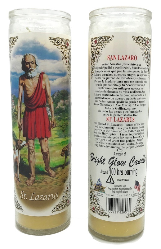 Picture of St Lazarus 7 Day Candle - Veladora San Lazaro&nbsp;- Item No.&nbsp;8584