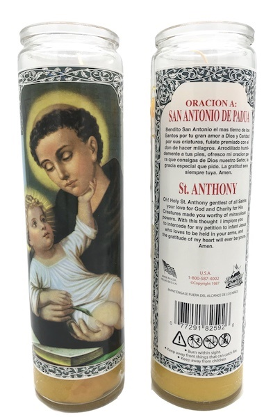 Picture of Saint Anthony of Padua Candle  - San Antonio 15 oz. - Item No. 8593