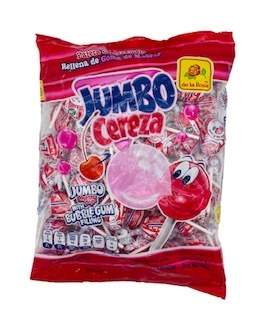 Picture of De la Rosa Paleta Jumbo Cereza con Chicle 50 piezas - Item No. 9581