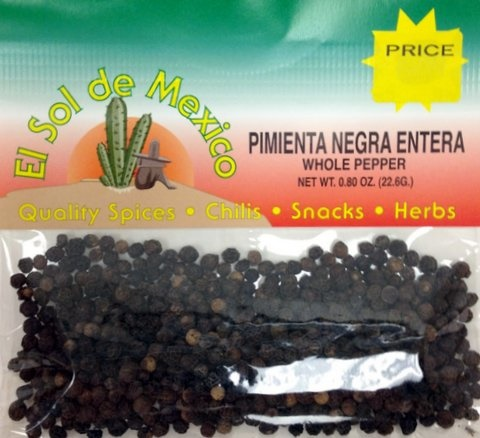 Picture of Whole Black Pepper by El Sol de Mexico .80 oz - Item No. 9611