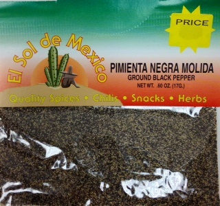 Picture of Ground Black Pepper by El Sol de Mexico .60 oz - Item No. 9612