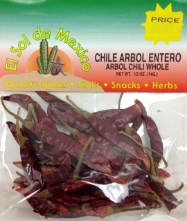 Picture of Arbol Chili Pepper Whole by El Sol de Mexico - Item No. 9614