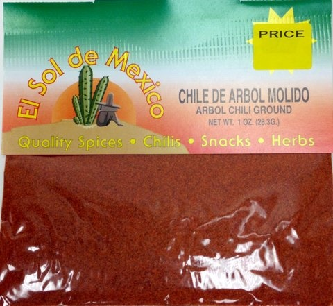 Picture of Chile de Arbol Molido Ground Chili by El Sol de Mexico 1 oz - Item No. 9624