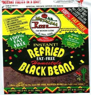 Picture of Mexicali Rose Low Fat Free Refried Black Beans - Instant 7 oz - Item No. 99643-00003