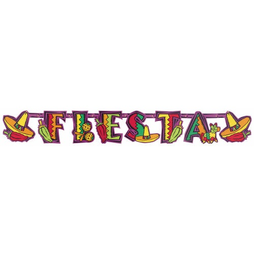 "Picture of Fiesta Party Illustrated Letter Banner 4 3/4"" x 7"" - Item No. ams-12241"