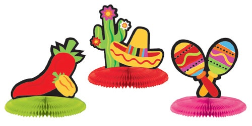 "Picture of Fiesta Mini Honeycomb Center Piece 5"" Assorted pack of 3 - Item No. ams-308900"