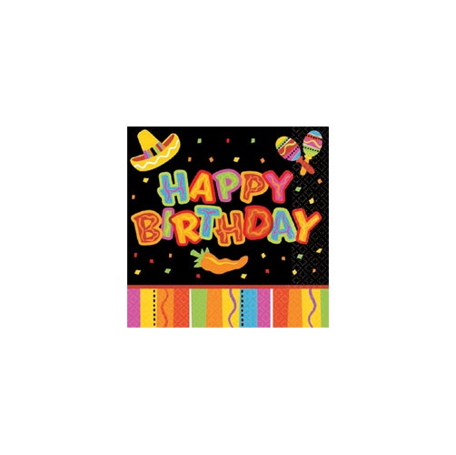 Picture of Fiesta Fun Happy Birthday Beverage Napkins Pack of 16 - Item No. ams-5098201-bn