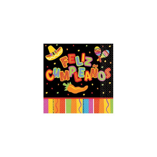 Picture of Fiesta Fun Feliz Cumpleanos Beverage Napkins Pack of 16&nbsp;- Item No.&nbsp;ams-5098202-bn