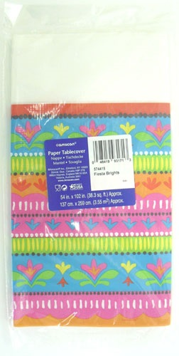 "Picture of Fiesta Brights Paper Table Cover54"" x 102"" - Item No. ams-574415-tc"