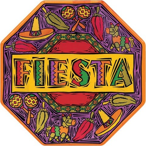 "Picture of Fiesta Party Paper Plates Octagonal 10"" Pack of 8 - Item No. ams-59041-plt-10"