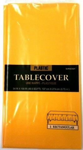 "Picture of Plastic Table Cover yellow sunshine 54"" x 108"" - Item No. ams-77015-09-tc"