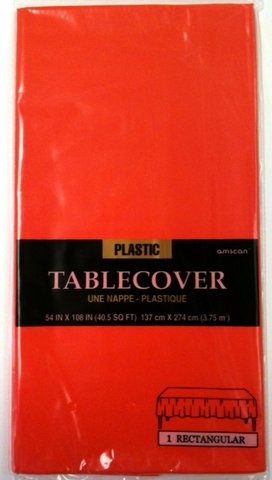 "Picture of Fiesta Party Plastic Table Cover - Apple Red Color54"" x 108"" - Item No. ams-77015-40-tc"