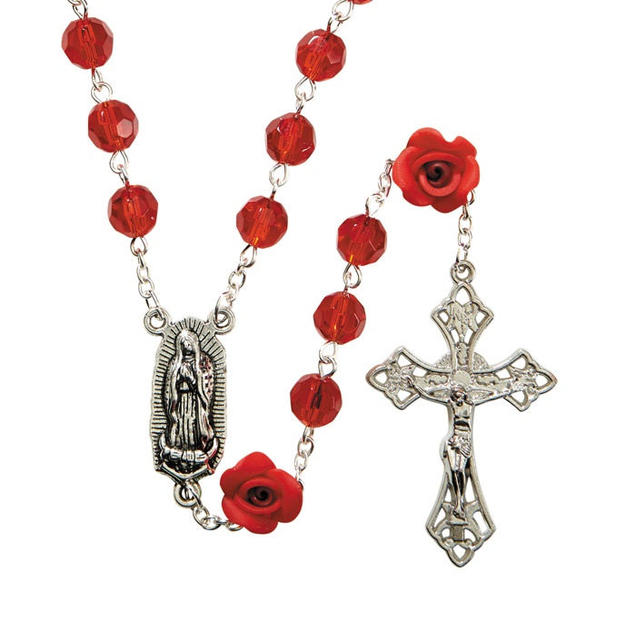 Picture of Our Lady of Guadalupe Rosary - Epoxy Silver Plate Rosary - Item No. gs651