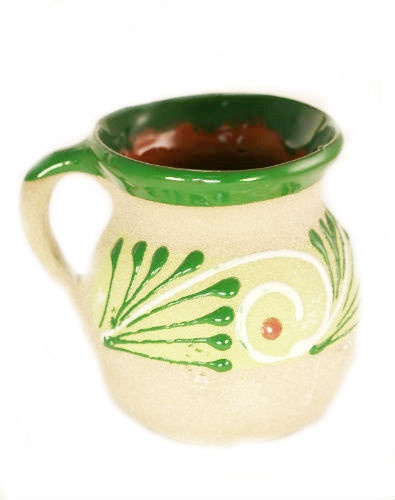 Picture of Clay Mug / Cup - Taza de Barro Decorada - Jarrito Ponche 1 unit - Item No. kme20513-c