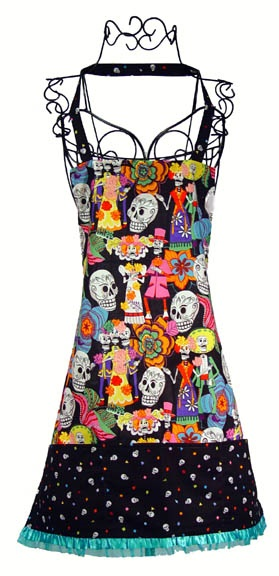 Picture of Day of the Dead Skulls Apron / Skeleton Wedding Dark 1 unit - Item No. mp-dayofdead-dark