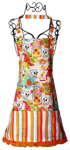 Picture of Day of the Dead Skulls Apron - Item No. mp-dayofthedead