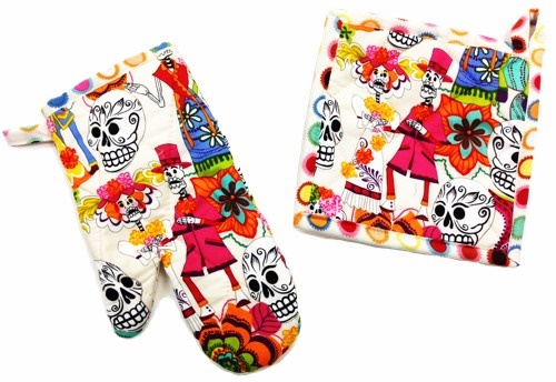 Picture of Skelleton Wedding Light Pot Holder and Oven Mitt 2 piece - Item No. mp-ph301-om301
