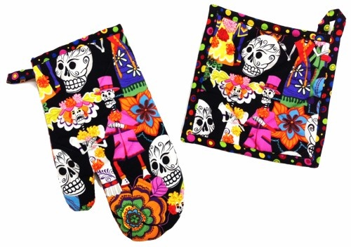 Picture of Skelleton Wedding Dark Pot Holder and Oven Mitt 2 piece - Item No. mp-ph302-om302