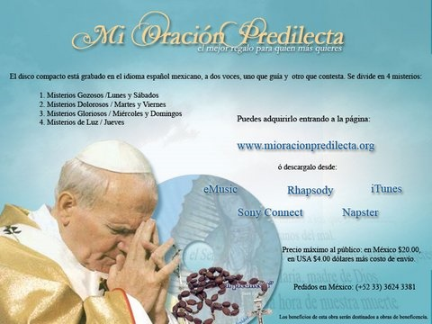 Picture of Mi Oraci�n Predilecta - CD con 4 Misterios en Espa�ol - Item No. oracion-cd